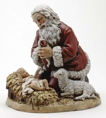 Kneeling Santa Statue  Kneeling Santa Statue, santa with jesus statue, santa with christ child statue, santa at nativity statue