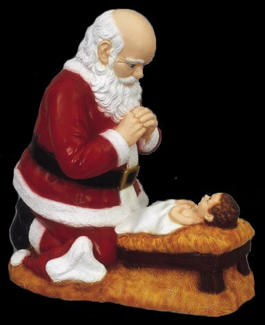 The kneeling santa for Baby jesus lawn decoration