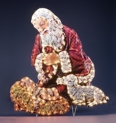 Santa with baby jesus gifts and figurines for Baby jesus lawn decoration