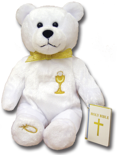 First Communion Holy Bear This bear features an embroidered gold chalice  and First Communion Bible. 9