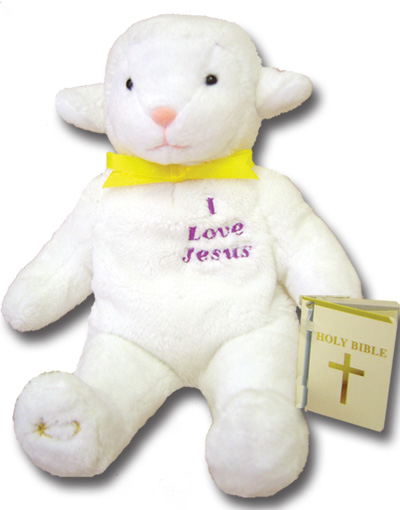This little lamb features embroidered