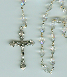 Aurora Borealis Crystal Rosary rosary aurora borialis, crystal ,30706, silver  crucifix, sterling silver center, sacramental gift, first communion rosary, sacramental rosary,