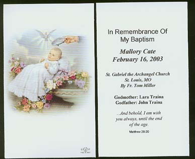 Click On Image For Larger View Custom Imprinted Holy Cards