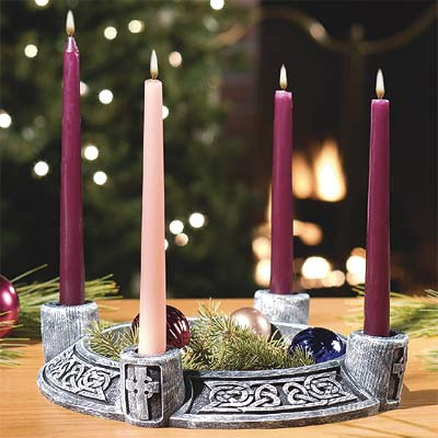 Irish Advent Wreath, Celtic Stone Design Stone Look Celtic Advent Wreath, irish advent, irish advent candle holder, irish advent wreath