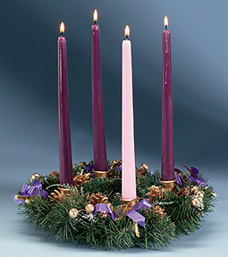 Advent Wreath with Purple Ribbon Advent Wreath With Purple Ribbon, evergreen advent wreath, evergreen advent candle holder, evergreen advent candleholder