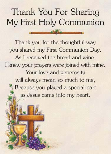 quot;thank youquot; first communion