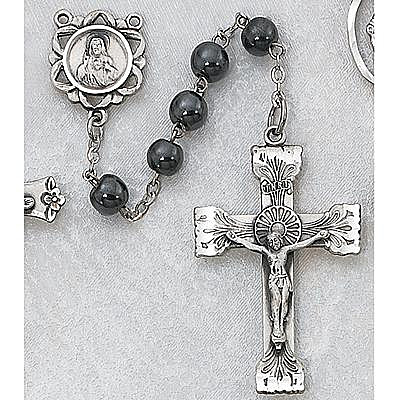 Hematite Rosary rosary, hematite beads, sterling silver center, sterling silver crucifix, 163L/F, sacramental gift, sacramental rosary,