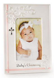 babys christening frames 95 tall holds a 4x6 photo made of porcelain glass and metal charm gift boxed pink item 15899 blue item 15901