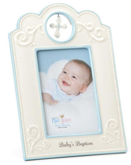 babys baptism blue ceramic frame 95 tall holds a 4x6 photo ceramic gift boxed item 38072