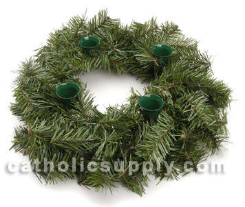 "18"" Evergreen Advent Wreath evergreen advent wreath, advent wreath larger size, advent wreath for church, advent wreath for chapel, sale advent wreath, cheap advent wreath, advent wreath with greenery to decorate, greenery advent wreath, advent candleholder with greenery, advent candle holder cheap, sale advent candleholder"