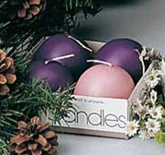 Advent Ball Candles 4/set