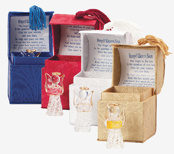 Assorted Glass Angel Figurines in Prayer Boxes *WHILE THEY LAST* Assorted Glass Angel Figurines in Prayer Boxes, worry angels, worry angel boxes, glass angels, mini glass angels, angel prayer boxes, QUANTITY DISCOUNT, QTY DISCOUNTS