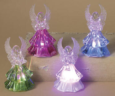 Assorted LED Angel Figures bulk lighted angels, led angels, plastic angels