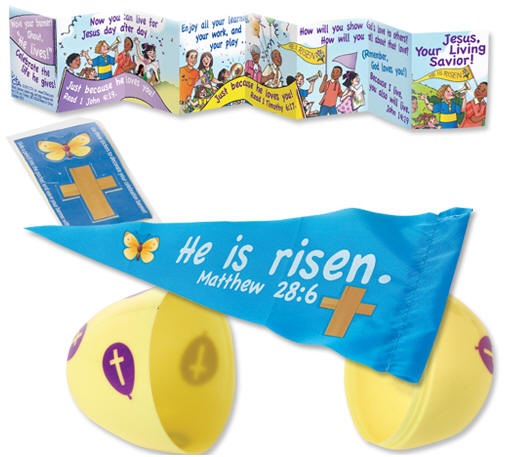 Easter items stuffed plastic gospel easter egg contains jesus lives silicone bracelet child sized bracelet or nylon he is risen banner and stickers negle Choice Image