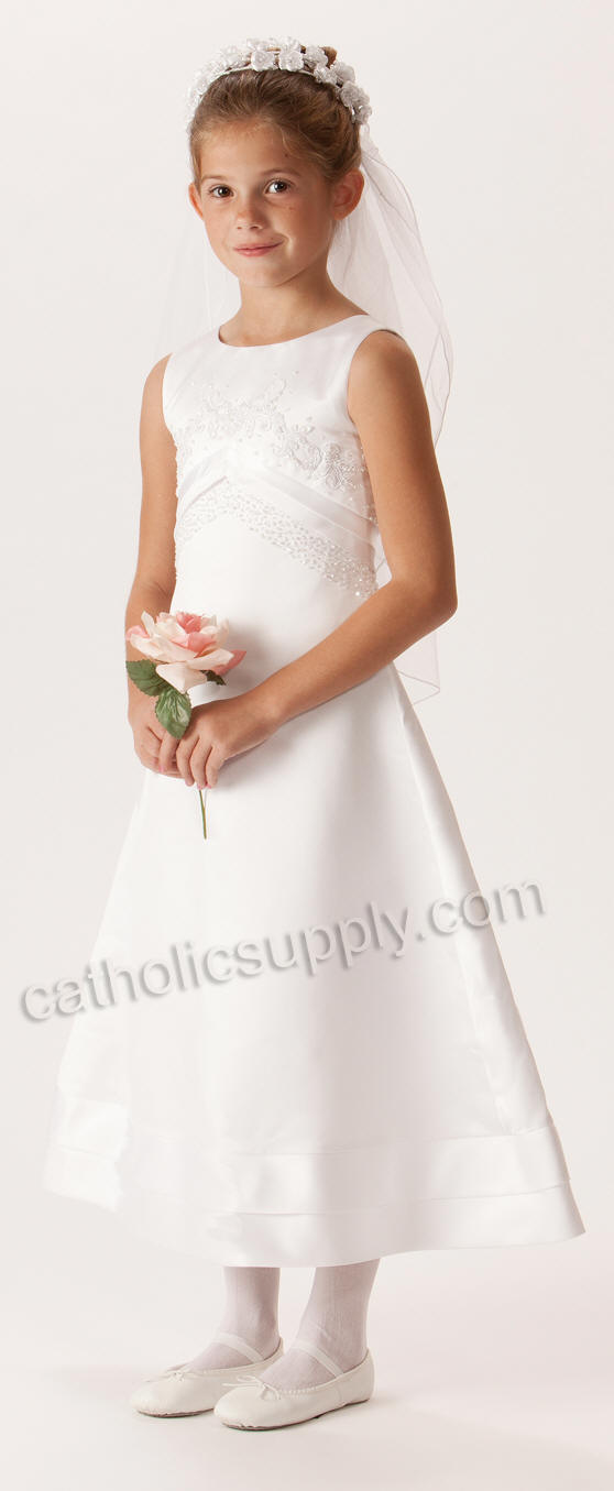 sleeveless aline first communion dress with beaded bodice and satin trimmed skirt