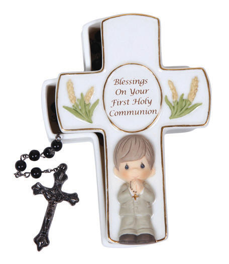 Precious Moments Communion Gifts: Blessing On Your First Holy Communion - Boy Covered Box With Black Rosary