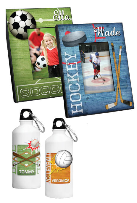 personalized sports frames measures 8x10 and holds a 4x6 photo personalize with a name up to 12 characters please allow 2 3 weeks for delivery