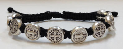 Black Silver St Benedict Blessing Bracelet With Story Card Each Is Made Using 10 Benedictine Medals And Comes Mounted On A About