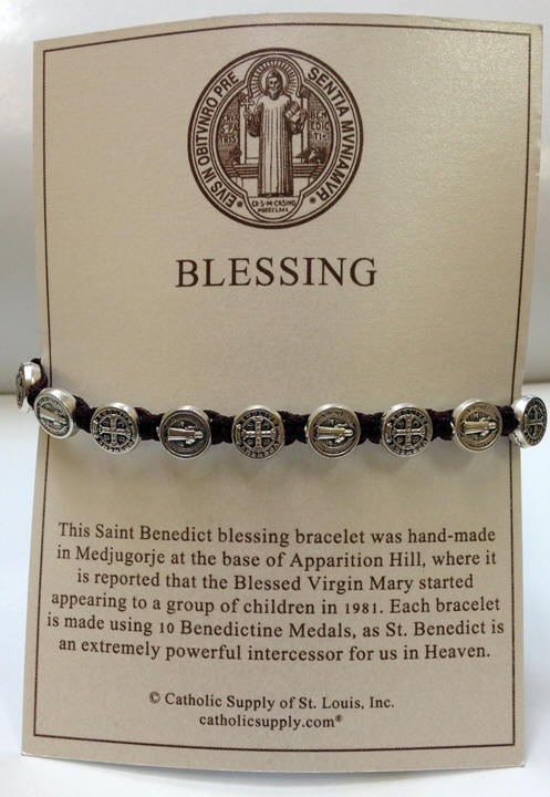 Brown/Silver St. Benedict Blessing Bracelet with Story Card - 04408
