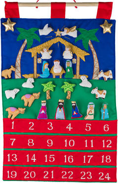 Fabric Advent Calendar with Pockets Fabric Advent Calendar with Pockets, nativity advent calendar for children, kids advent calendar, fabric advent calendar for wall, wall advent calendar