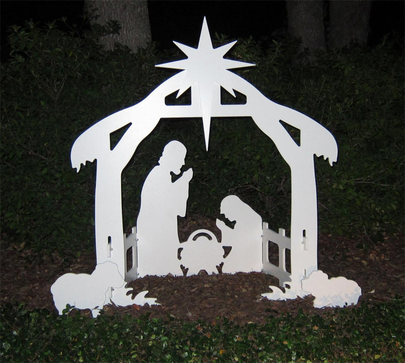 Lifetime outdoor nativity marine grade white pvc silhouette for Amazon christmas lawn decorations