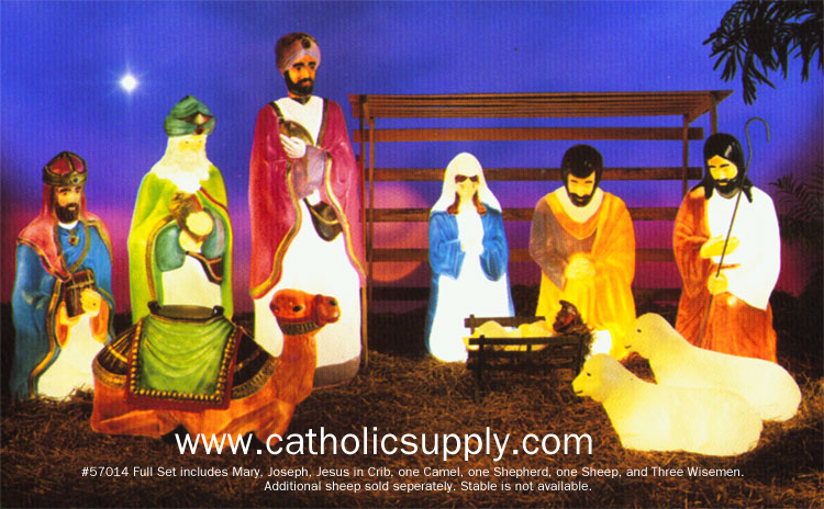 Lit Outdoor Plastic Nativity