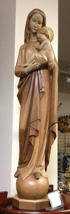 Our Lady Of Universe 3%27 Wood Carved Statue - 3 Tone Stain