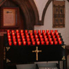 Votive Candle Rack in Churches, Cathedrals and Shrines in Ireland, UK, Europe, USA