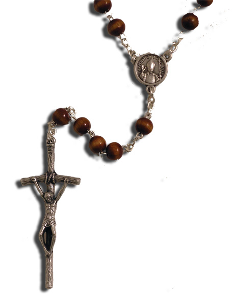 Pope Benedict XVl Rosary rosary, wood bead, brown round bead, papel rosary, sacramental gift, pope rosary, commemerative rosary